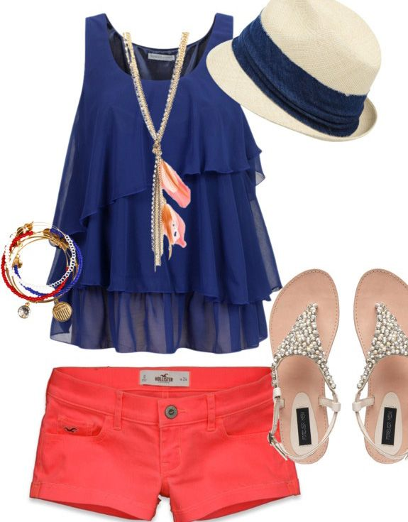 summer outfit...just need longer shorts/capris!! But LOVE the colors and the hat!!