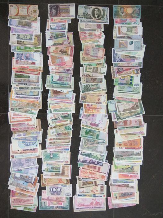 Wereld - Collectie van ca. 400 bankbiljetten uit de gehele wereld. Alle verschillend.  Collectie van ca. 400 stuks biljetten uit een groot aantal landen uit Azië Amerika Afrika en Europa.Allemaal verschillend.Alle biljetten zijn in perfecte uncirculated (UNC) kwaliteit.Cataloguswaarde Pick: ca. 2250 US$(Code 400 Fo)Beoordeel het zelf aan de hand van de afbeeldingen.Deze collectie wordt aangetekend verzonden.  EUR 150.00  Meer informatie