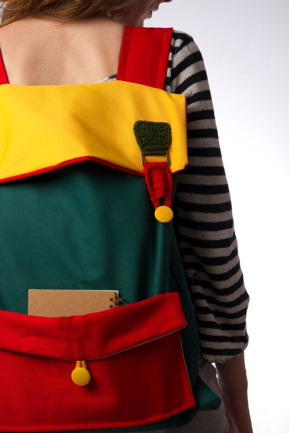 big laptop backpack color block green yellow red with crochet buckles FREE SHIPPING