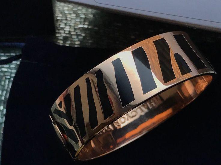 $295 Halcyon Days Zebra Black and Rose Gold Hinged Bangle Bracelet Luxor Box