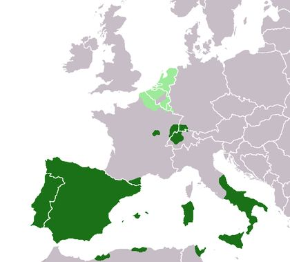 European territories under the rule of the Spanish King around 1580 (the Spanish Netherlands in light green) on a map showing Modern-Day State borders.