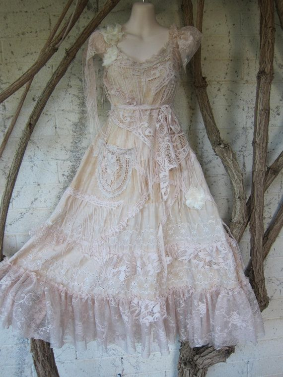 "vintage inspired cotton shabby chic dress..medium to 40"" chest..."