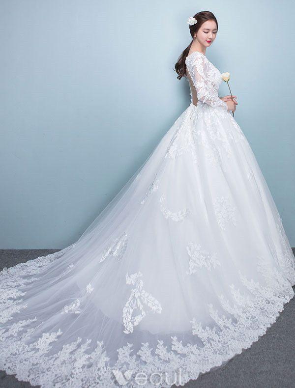 Lace Bridal Dress with Open Back,Long Sleeve Wedding Dress,Elegant Prom Dress,JD 195