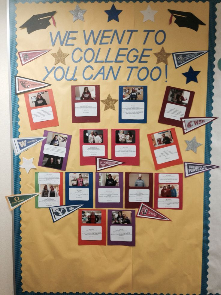 """We went to college you can too!"" Bulletin board for college awareness. #elementaryschoolcounseling"