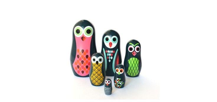 Pocket animal nesting dolls from Omm Design - owls - Love from Friday