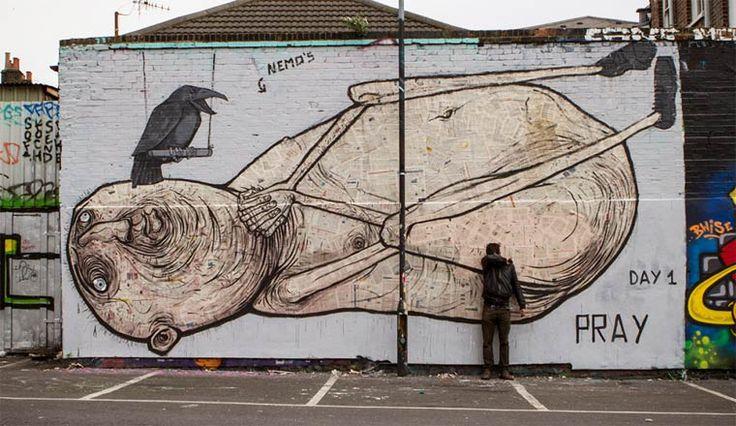 Les superbes créations street art de l'artiste italienNemO's, basé à Milan, qui réalise de gigantesques personnages grâce à un mélange de peinture et d