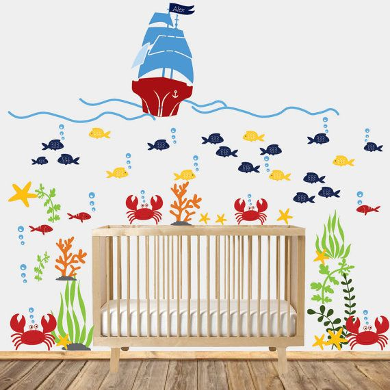 Wall decals nursery nursery wall decal underwater decal children wall decal sea world vinyl decal nursery decals nursery