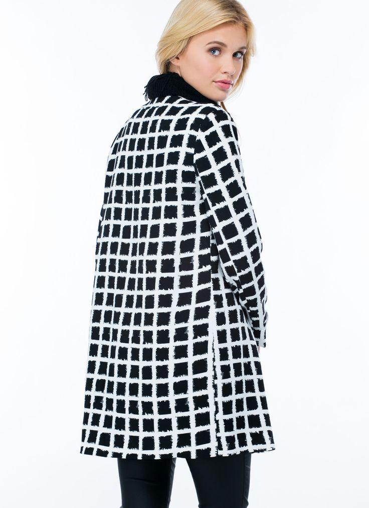 Grid Girl Collarless Coat BLACK