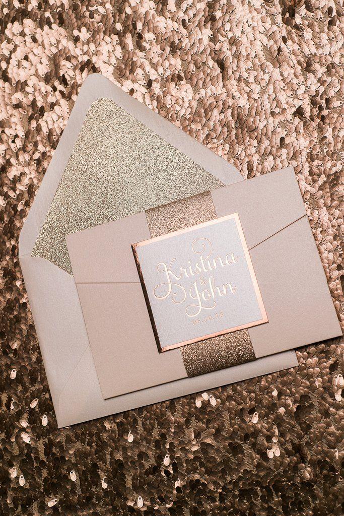 ADELE Suite Glitter Pocket Folder Package, rose gold foil, rose gold glitter, blush and rose gold wedding invitations