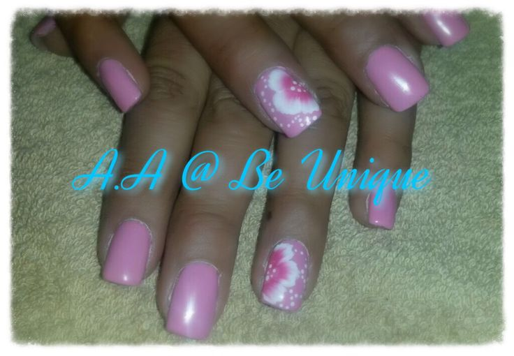 Nails done by Angelique Allegria. #Pink #Onestroke #Flower #nailart #BeUnique @angiedsa