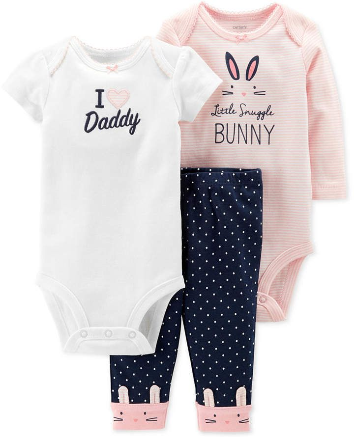 19f3a2aefba Carter s Baby Girls 3-Pc. Cotton Bunny Bodysuits   Pants Set - Pink ...