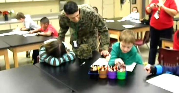 Soldier Father Surprises His Two Children In The Middle Of Class via LittleThings.com