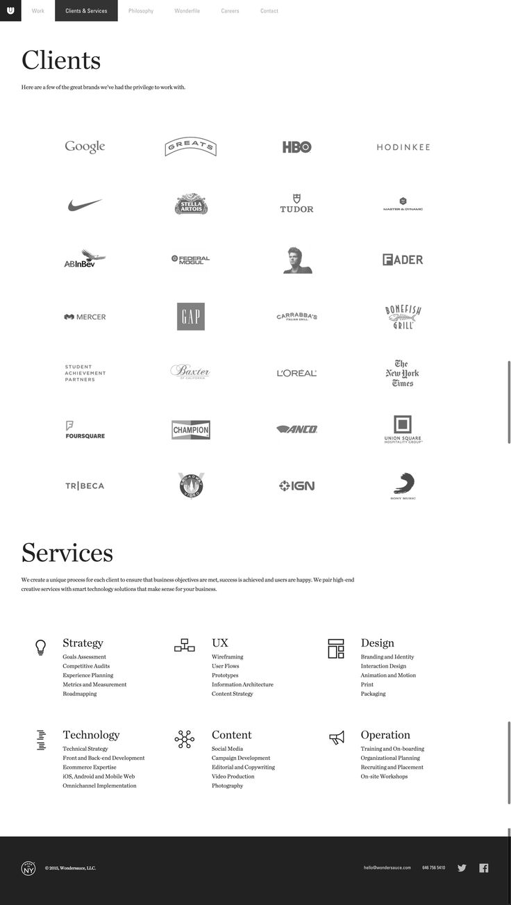 List of clients and services