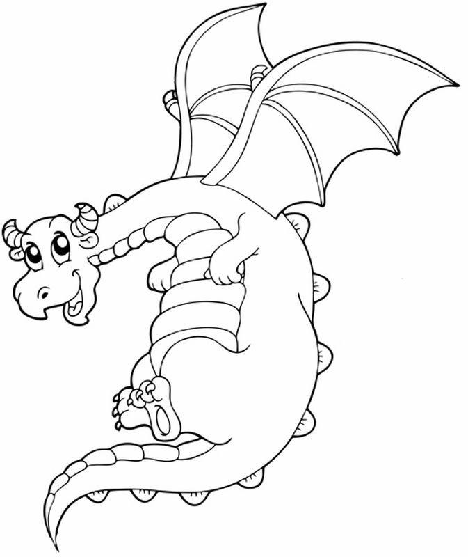 ausmalbild märchen fliegender drache kostenlos ausdrucken
