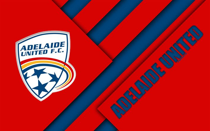 Download wallpapers Adelaide United FC, 4K, Australian Football Club, material design, logo, red blue abstraction, A-League, Adelaide, Australia, emblem, football