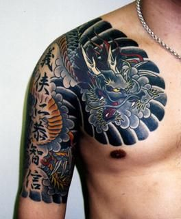 Japanese shoulder/arm tattoos make a colourful splash
