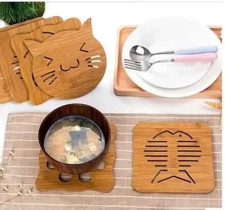 Cartoon Insulation Pad Tea Coffee Cup Mat Wood Coaster Tableware Kitch – Pitchy Wooden Delights
