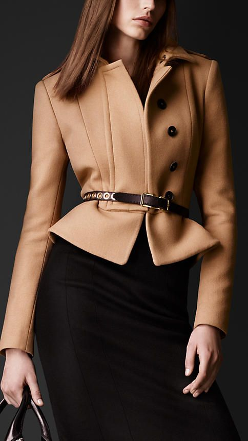 Burberry Prorsum Felted Wool Peplum Jacket