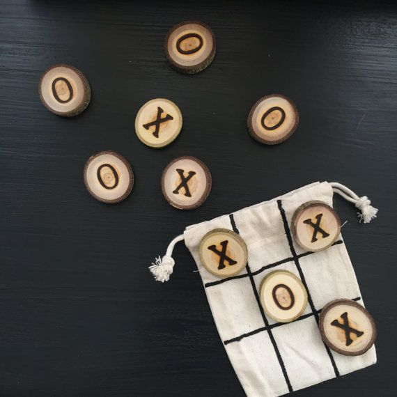 Mini Tic Tac Toe Game Bag | Stocking Stuffer - Christmas Gift - Travel Games - Small To-Go Game - Children's Game - Wood Game - Classic Game