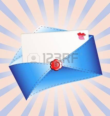 letter in a blue envelope Stock Vector