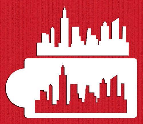 New York Skylines Schablone Set für Cookies & Cake-Seiten - Designer-Schablonen (C757)