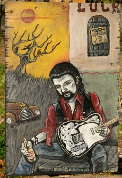 Wes Freed painting of Waylon Jennings - this also hangs in my living room.