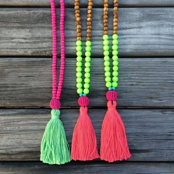 SALE- Neon Tassel necklace - beaded necklace - Neon - Summer necklace - bohemian