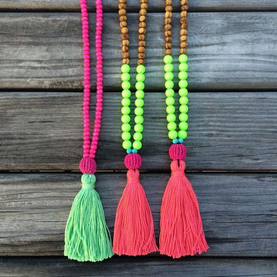 SALE- Neon Tassel necklace - beaded necklace - Neon - Summer necklace - bohemian