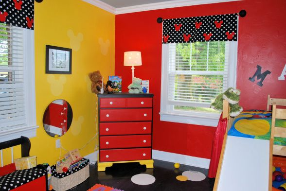 i could do make the valance...polka dot fabric with red mickey heads I could do this to her dresser definitely