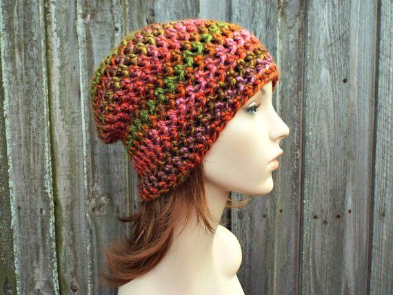 940f41d0450 Harvest Orange Crochet Hat Orange Womens Hat - Orange Slouchy Beanie Orange  Hat Orange Beanie Winter Accessories - READY TO SHIP