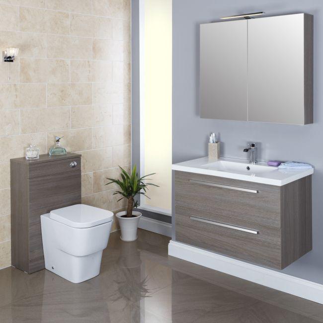 Vasari Concealed Cistern Unit & Bordeaux Toilet  - 500mm Width Grey Oak