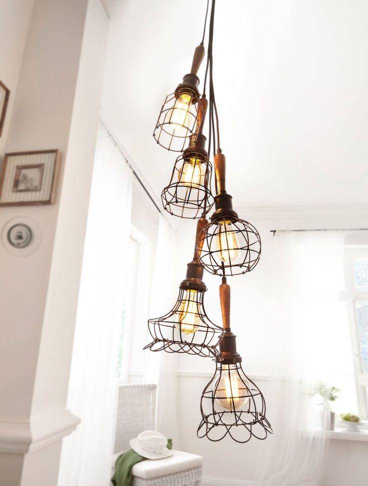 Epic Deckenleuchte Wire klassisch Metall Holz Deckenleuchten Leuchten