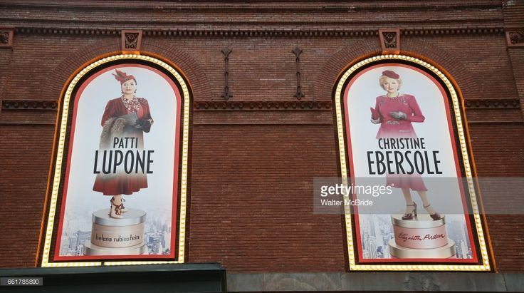 Theatre Marquee unveiling for 'War Paint' starring Patti LuPone and Christine Ebersole at the Nederlander Theatre on 3/31/2017 in New York City.