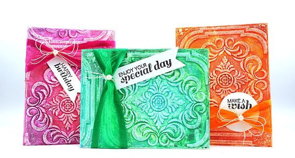 Textured wallpaper cards colored with #Gelatos!  By @Jill Meyers Foster