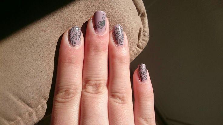 Peacock nails. Moyou London plate suki 01