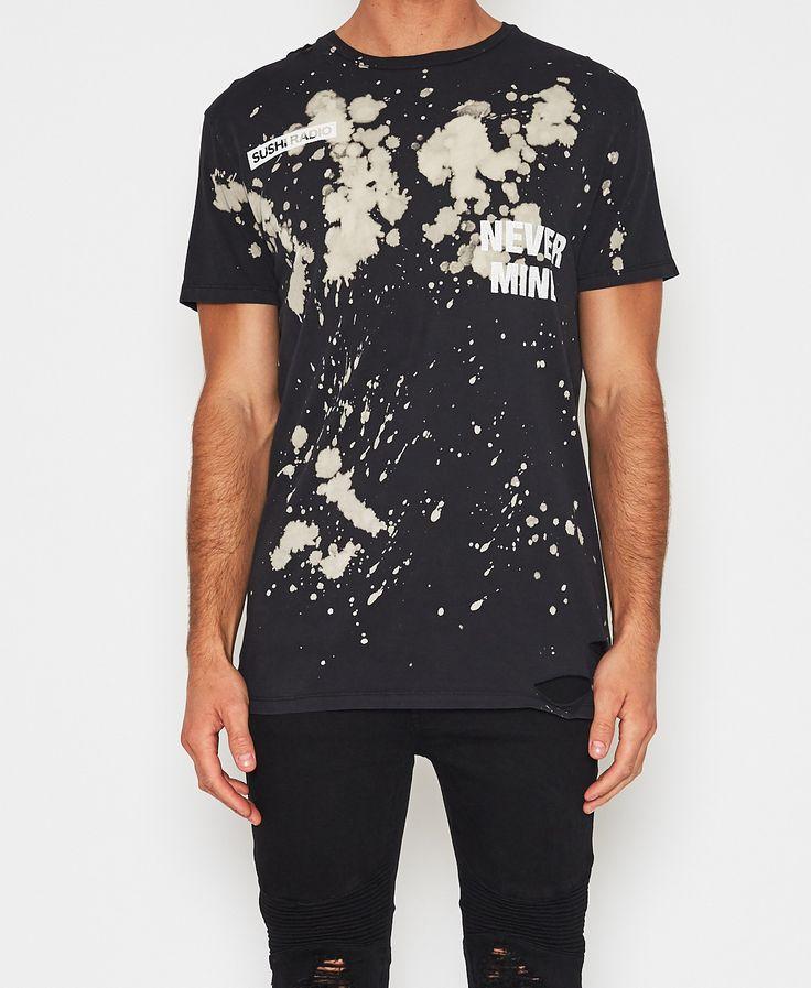 Sushi Radio / Nevermind Big T-Shirt Bleach Black T-Shirts Tops Men | Neverland Store