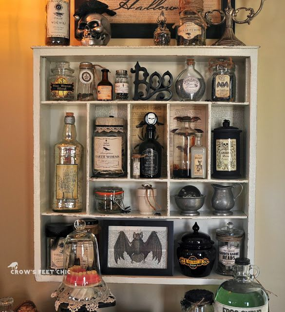 white apothecary cabinet for halloween