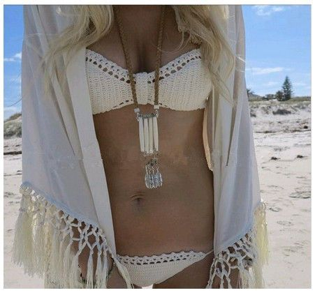 Handmade Crochet Triangular Bikini Top And Crochet Swimsuit Bottom