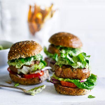 Turkey burgers with avocado yogurt and sweet potato chips | Waitrose