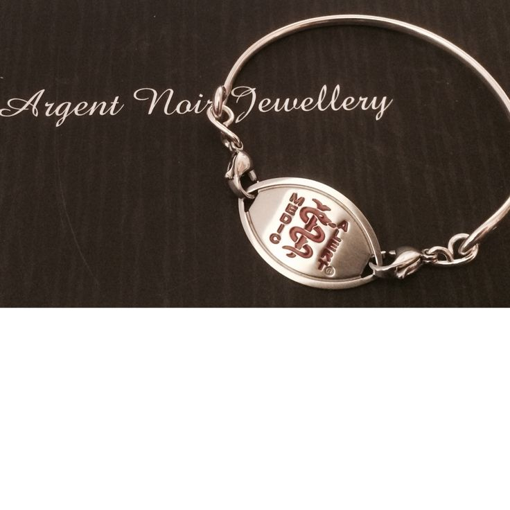 Sterling silver medic alert bracelet. Make your necessity a stylish piece of jewellery, prices from £30 #medicalert #bangle #jewellery  http://pict.com/p/EFS