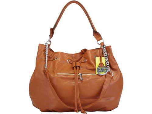 Michael Kor Coffee Pleated Leather Bag,$100