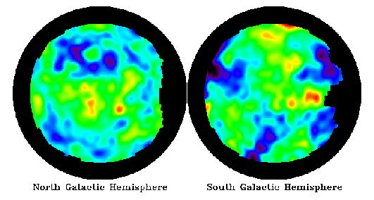 "February 6, 1996:     COBE Hotspots: The Oldest Structures Known  -    Credit: NASA, COBE, DMR, Four Year Sky Map    -   Explanation: Above are two microwave images of the sky, looking north and south of our galaxy's equator, based on data from NASA's COBE satellite. After computer processing to remove contributions from nearby objects and the effects of the earth's motion, they show ""spots"".  More..."