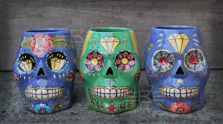 Tiki mugs - Calaveras by Benusha. Hand-made, hand-painted ceramics. Kubki Tiki od Benusha, ręcznie malowana ceramika. sugar scull