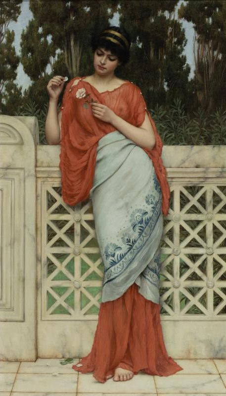"""He Loves Me, He Loves Me Not"" (I want this scarf) John William Godward (1861 – 1922), English painter from the end of the Pre-Raphaelite / Neo-Classicist era."