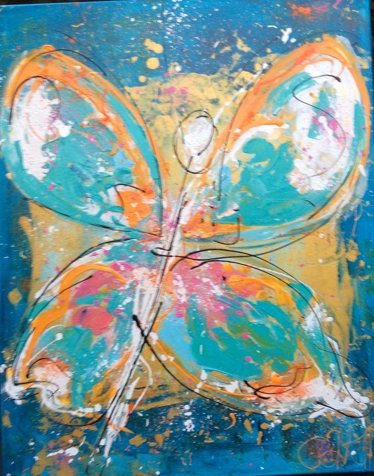Vlinder abstract modern schilderij kleurrijke kunst  Www.carinkunst.nl