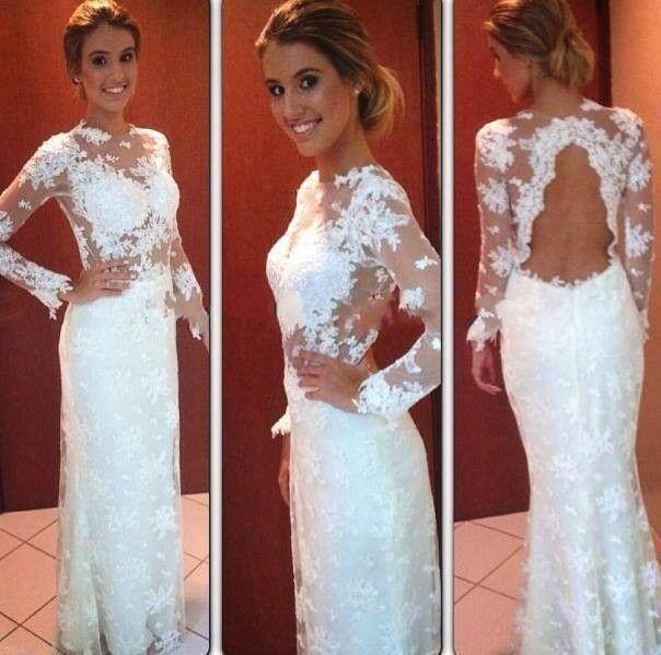Новые красивые женщины белый формальное вечернее платье в пол ну вечеринку по доход с длинным рукавом с кружевом платья с открытой спиной пром платья