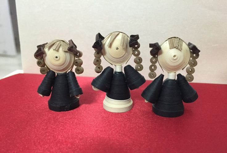 Miniature quilled paper art dolls (3 in a set) - Harry Potter inspired artwork - Hermione Granger personified - Old School Days by FineQuilling on Etsy