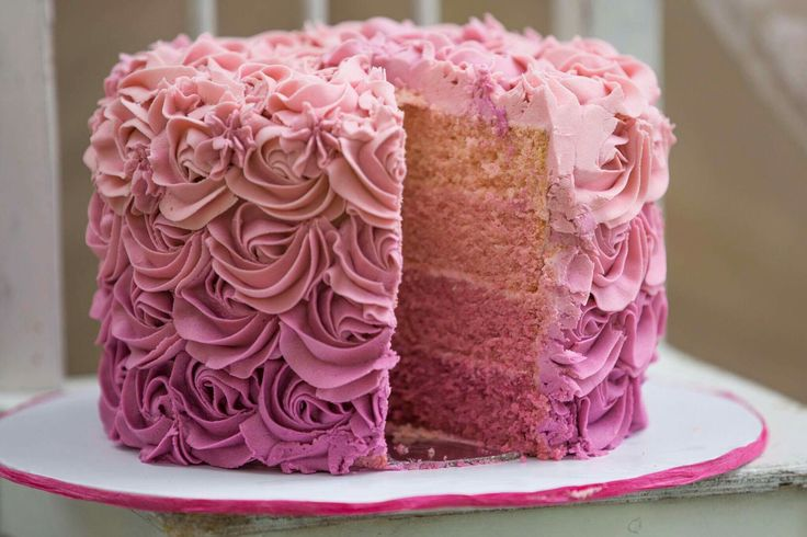 Ombre rosette cake inside and out
