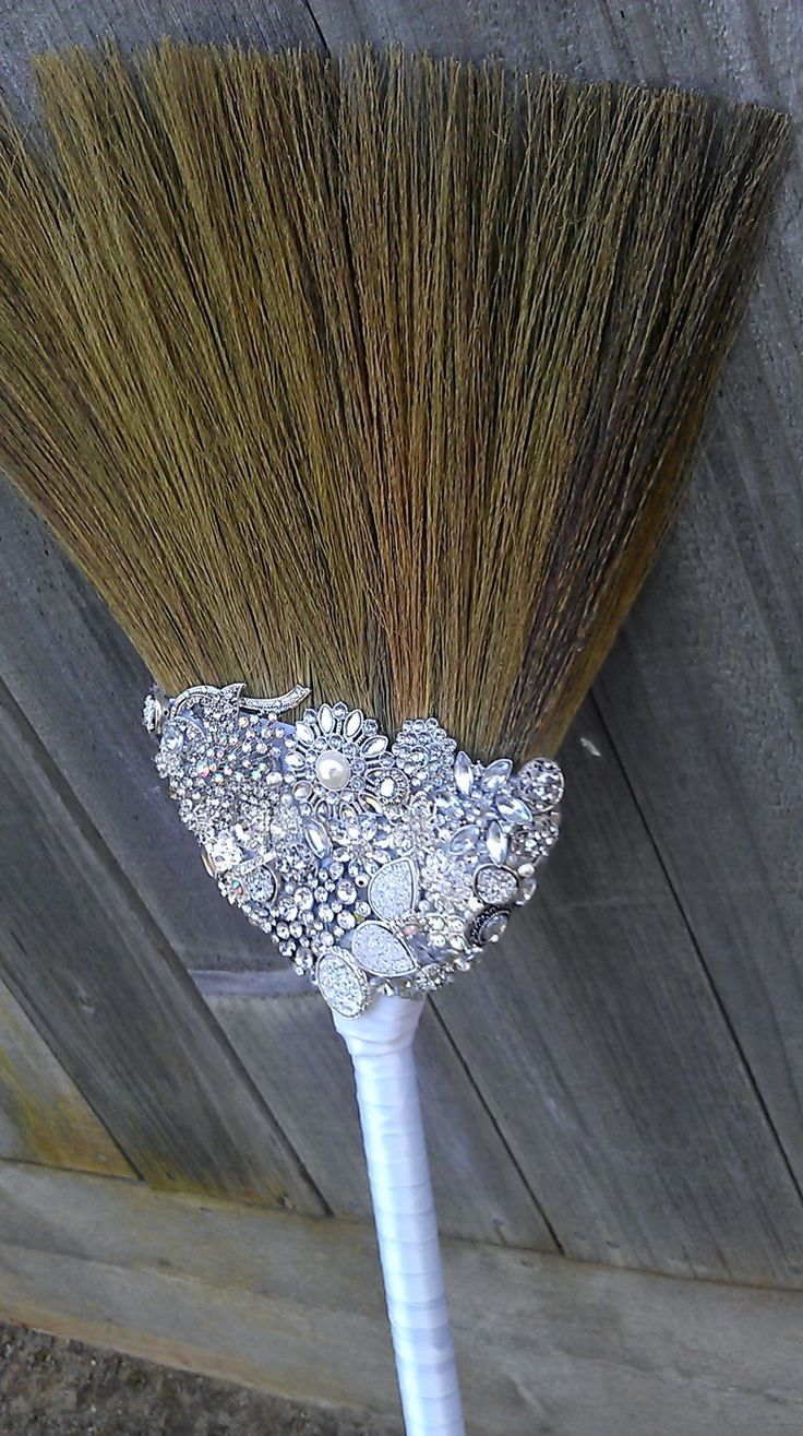 Bedazzled and Blinged Jeweled Wedding Broom - Jumping the Broom. Gypsy wedding day tradition.