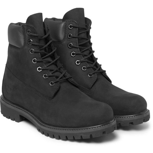 Timberland Premium Waterproof Leather-Trimmed Nubuck Boots (£170) ❤ liked on Polyvore featuring men's fashion, men's shoes, men's boots, mens waterproof shoes, timberland mens boots, mens waterproof boots, mens water proof boots and mens nubuck shoes